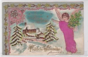 90636 Fröhliche Weihnachten Präge Stoff Ak Engel vor Winterlandschaft 1901