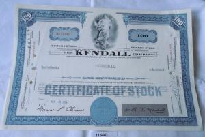 100 Dollar Aktie USA The Kendall Company Massachusetts 2.April 1964
