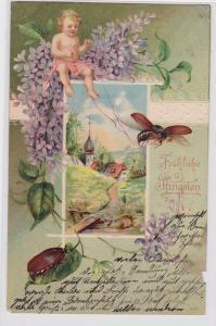 90298 Glückwunsch AK Fröhliche Pfingsten - Engel mit Maikäfern 1903