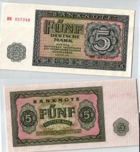 5 Mark Banknote DDR Deutsche Notenbank 1955 kassenfrisch (124005)