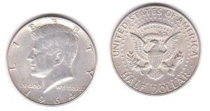 1/2 Dollar Silbermünze USA 1964 John F.Kennedy (119916)