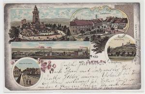 71303 Ak Lithografie Gruss aus Artern u. Umgebung, Industrie-Viertel usw., 1902