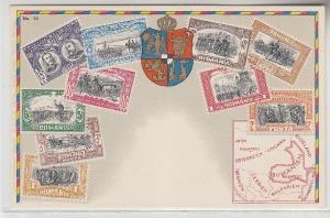 64875 Wappen Ak Rumänien mit Briefmarken um 1900