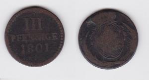 3 Pfennig Kupfer Münze Sachsen 1801 (122899)