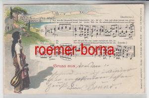 78073 Lied Ak mit Noten Beethoven Nur wer die Sehnsucht kennt ... 1898