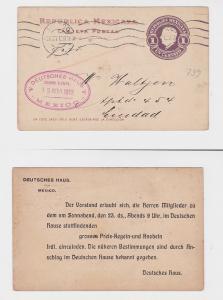 92435 Ganzsachen Einladungs Ak Deutsches Haus Mexiko 1912