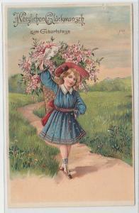 47025 Geburtstags Präge Ak Kind mit Korb voll Blumen 1907