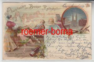 78847 Ak Lithographie Phantasien im Bremer Rathskeller 1908
