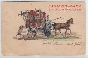 68440 Herzlichen Glückwunsch zum Einzuge Ak Pferdefuhrwerk Umzugswagen 1906