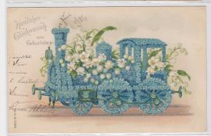 92334 Geburtstags Präge Ak Lokomotive aus Vergißmeinnicht um 1905