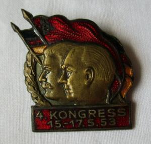 Frühes DDR Abzeichen 4. Kongress 15.-17. Mai 1953 GDSF Freundschaft (133304)