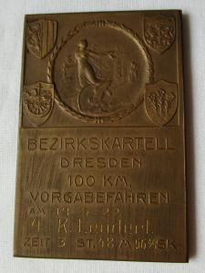 Bronze Plakette Bezirkskartell Dresden 100 km Vorgabefahren 14.Mai 1922 (115833)