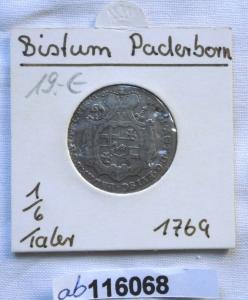 1/6 Taler Silber Münze Bistum Paderborn Wilhelm Anton von Asseburg 1769 (116068)