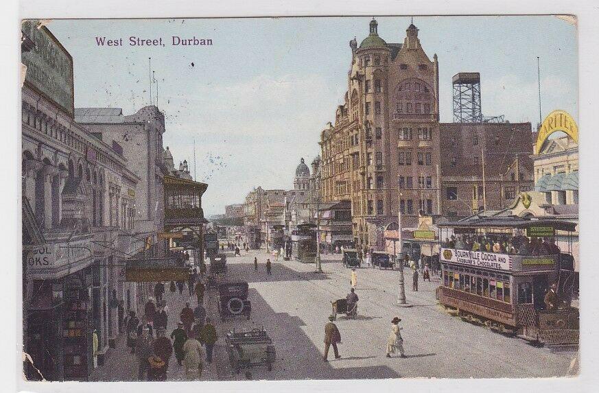 56911 Ak Durban West Street mit Strassenbahn 1930 0