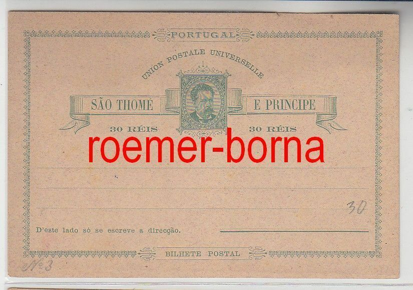 74612 seltene Ganzsachen Postkarte São Tomé und Príncipe 30 Reis vor 1900 0