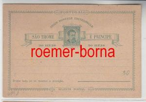 74612 seltene Ganzsachen Postkarte São Tomé und Príncipe 30 Reis vor 1900