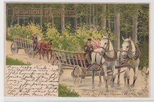 78988 Glückwunsch AK Fröhliche Pfingsten - Kremserfahrt mit Pferden 1903
