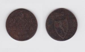 3 Pfennig Kupfer Münze Greiz 1819 L.M. (122878)