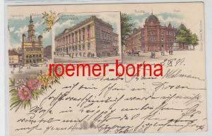 79219 Ak Lithographie Posen Rathaus, Bibliothek, Post 1899