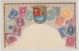 65861 Wappen Ak Venezuela mit Briefmarken um 1900