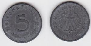5 Pfennig Zink Münze alliierte Besatzung 1947 D Jäger 374 (122840)
