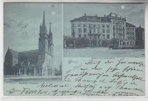 25424 Mondscheinkarte Gruß aus Basel Hotel Schweizerhof 1898