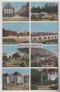 65809 Mehrbild Ak Schweidnitz Artillerie-Kaserne, Getreidemarkt usw. 1916