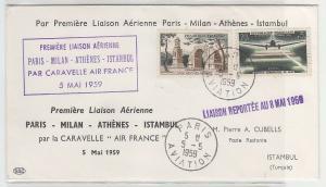 72242 seltener Flugpost Brief von Paris nach Istambul 1959