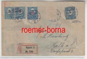 61340 seltener Einschreibe Brief Oberschlesien Oppeln 1920