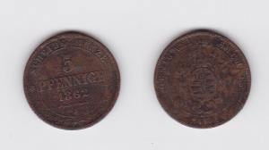 5 Pfennig Kupfer Münze Sachsen 1862 B (123143)
