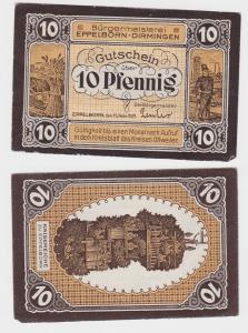 10 Pfennig Banknote Bürgermeisterei Eppelborn Dirmingen 15.2.1921 (110073)