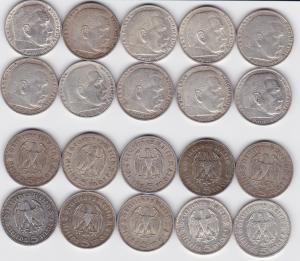 10 Silbermünzen 3.Reich 5 Mark Hindenburg (119474)