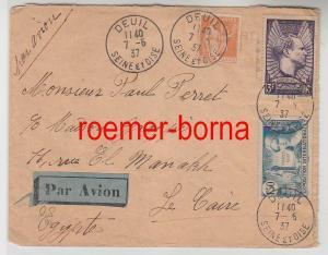 82422 seltener Luftpost Brief von Frankreich nach Ägypten 1937