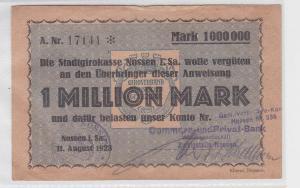 1 Million Mark Banknote Stadtgirokasse Nossen 11.08.1923 (118915)