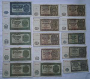 15 Banknoten Deutsche Notenbank DDR 1948 (112874)
