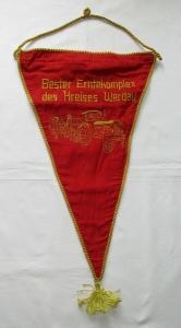 Seltener gestickter Wimpel Bester Erntekomplex des Kreises Werdau (133932)