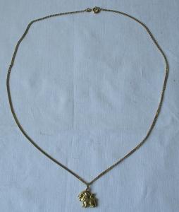 Hübsche Kette 333er Gold mit Anhänger aus 585er Gold Motiv Löwe (124617)