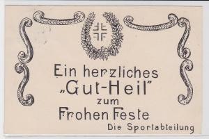 82127 Glückwunsch AK Ein herzliches Gut-Heil zum Frohen Feste Die Sportabteilung