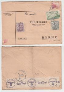 65738 seltener Zensur Post Brief von Madrid Spanien nach Herne in Westf. 1940