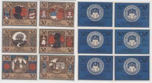 6 x 50 Pfennig Banknoten Notgeld Stadt Ettenheim 1.3.1922 (122764)