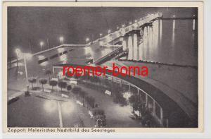 84996 Ak Zoppot (Sopot) Malerisches Nachtbild des Seesteges um 1940