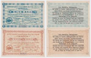 1 und 5 Mark Banknoten Kriegsgefangenenlager Minden 1916 (123674)