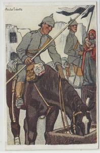 70579 Reklame Feldpost Ak Soldat mit Leibniz Keks 1915