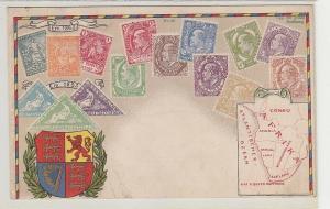 02243 Wappen Ak Cape of Good Hope Kap der guten Hoffnung mit Briefmarken um 1900