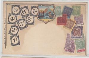 30618 Wappen Ak Trinidad mit Briefmarken um 1900