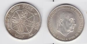 100 Pesetas Silber Münze Spanien 1966 (133264)