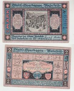2 Mark Banknote Notgeld Stadtsparkasse Bielefeld 1921 (113578)