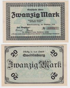 20 Mark Banknoten Notgeld Stadt Quedlinburg Oktober 1918 (121161)