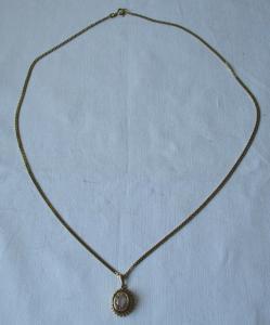 Charmante Kette 333er Gold mit prunkvollem rosa Steinanhänger (124846)