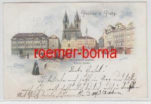 47869 Ak Lithografie Prag Pozdrav z Prahy Staromestske namesti Tynsky Chram 1909